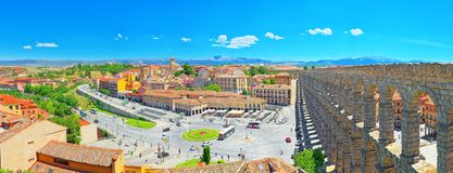 Aqueduct of Segovia or more precisely, the aqueduct bridge is. Segovia, Spain- June 07, 2017: Aqueduct of Segovia or more precisely, the aqueduct bridge is a Royalty Free Stock Photo