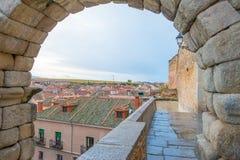 Aqueduct of Segovia. Roman aqueduct of Segovia in Spain Stock Photos