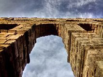 The aqueduct of Segovia. Section of the roman aqueduct remains in the old city center of Segovia city, Spain Stock Images