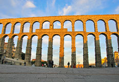 Aqueduct of Segovia. In Spain royalty free stock image