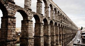 Aqueduct in Segovia, Spain. Famous Aqueduct in Segovia, Spain, Europe royalty free stock photo