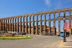 Aqueduct of Segovia, Spain. Aqueduct of Segovia in Spain royalty free stock photography