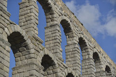 Aqueduct of segovia, spain. As seen from below royalty free stock photo