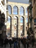 The Aqueduct of Segovia. View of the Aqueduct as we leave the medieval citadel of Segovia, Castile and Leon, Spain Stock Image