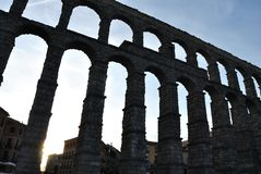 The aqueduct of Segovia, view from Oriental Square. stock image