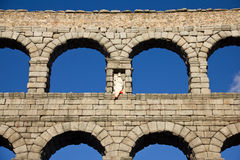 Aqueduct of Segovia. The Segovia aqueduct was built by the Romans in the second century AD, its maximum height is 28 meters and was used to transport water royalty free stock image