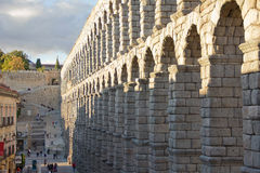 Aqueduct of Segovia. The Segovia aqueduct was built by the Romans in the second century AD, its maximum height is 28 meters and was used to transport water stock photos