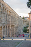 Aqueduct of Segovia. The Segovia aqueduct was built by the Romans in the second century AD, its maximum height is 28 meters and was used to transport water Stock Photo