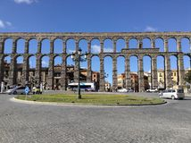 The Aqueduct of Segovia. The aqueduct was built by the Romans between the 1st and 2nd Centuries CE in Segovia, Castile and Leon, Spain Royalty Free Stock Photography
