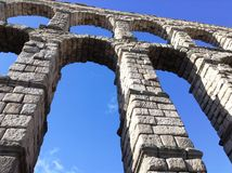 The Aqueduct of Segovia. The aqueduct was built by the Romans between the 1st and 2nd Centuries CE in Segovia, Castile and Leon, Spain Royalty Free Stock Images