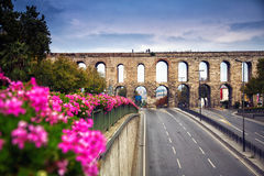 Aqueduct of Valens in Istanbul, Turkey. royalty free stock images