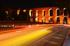 Aqueduct of Valens in night, Istanbul, Turkey. stock photo