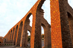 Aqueduct- Zacatecas, Mexico. 18th century El Cubo aqueduct on Gonzalez Ortego avenue in the colonial mining city of Zacatecas- Mexico stock images