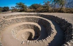Aqueduto de Cantalloc perto de Nazca, Peru fotografia de stock