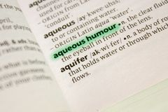 Aqueous humour word or phrase in a dictionary. Nice photo illustration, useful for your needs stock photos