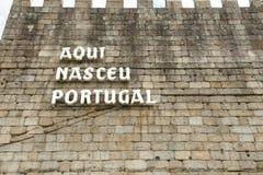 ` Aqui Nasceu Πορτογαλία ` - Guimaraes - Πορτογαλία στοκ εικόνα