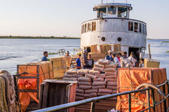 Aquiaban freight ship on Rio Paraguay. The Aquidaban on the fourth and final day of it's journey to Bahia Negra Royalty Free Stock Photos