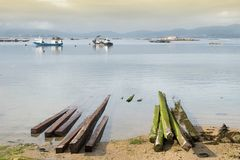 aquicultuur Overzees landschap van de kust van Galicië stock foto's