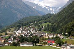 Aquila. Village Aquila against the mountains stock photo