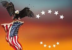 Aquila calva con la bandiera americana illustrazione vettoriale