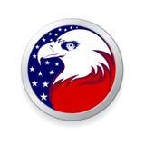 Aquila con la bandiera americana Fotografia Stock