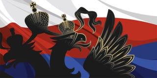 Aquila nera sulla bandiera russa Fotografia Stock