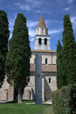 Aquileia - A column behind the cathedral. The particular of a column behind the cathedral Royalty Free Stock Photo
