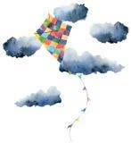 Aquilone dell'acquerello con le nuvole e la progettazione d'annata Illustrazioni dipinte a mano isolate su fondo bianco Per proge royalty illustrazione gratis