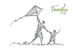 Aquilone disegnato a mano di volo del figlio e del papà con iscrizione Immagine Stock Libera da Diritti