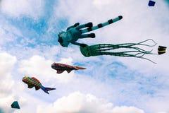 Aquiloni nel cielo nuvoloso, festival di estate Immagine Stock Libera da Diritti