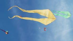 Aquiloni nella forma del volo del crampo-pesce in cielo fra dozzine di aquiloni differenti stock footage