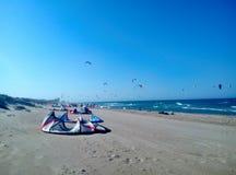 Aquiloni sulla spiaggia immagini stock
