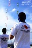 Aquiloni volanti della gente Fotografia Stock
