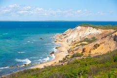 Aquinnah峭壁在马萨葡萄园岛,麻省 免版税库存照片
