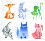 Emotional curious kittens in style of the handdraw. watercolor. Aqurella. watercolor emotional curious kittens in style of the handdraw vector illustration