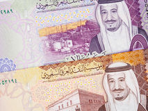 Arábia Saudita cédulas de 5 e close up de 10 riyal 2016, saudita Fotografia de Stock Royalty Free