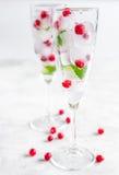 Arándano fresco en cubos de hielo en vidrios en la maqueta blanca del fondo Foto de archivo