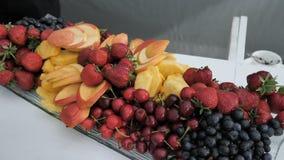 Arándanos frescos, fresas, cerezas, manzanas cortadas, mangos y piñas en una placa rectangular larga metrajes