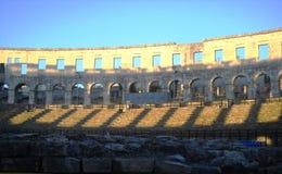 Arène de Pula - amphithéâtre romain du ` s Photos libres de droits