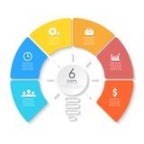 Żarówka biznes infographic Szablon dla prezentaci, diagram, wykres Zdjęcie Stock