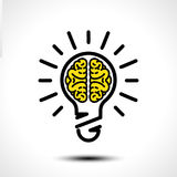 Żarówka pomysł z móżdżkowym wektorowym loga szablonem Korporacyjna ikona tak jak logotyp ilustracji