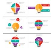 Żarówka pomysłu prezentaci szablonów Infographic elementsflat Abstrakcjonistyczny projekt ustawia dla broszurki ulotki ulotki mar Obraz Stock