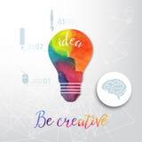 Żarówka robić akwarela, lightbulb i kreatywnie ikony, akwareli kreatywnie pojęcie Wektorowy pojęcie - twórczość i pomysł Le ilustracji