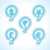 Żarówka z różnym waluty pojęciem Obraz Stock