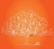 Żarówki drzewo z pejzażem miejskim w tle Zdjęcia Stock