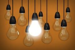 Żarówki innowacja 3d Zdjęcie Stock