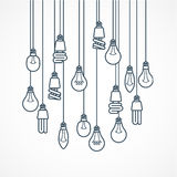 Żarówki obwieszenie na sznurach - lampy Zdjęcie Stock
