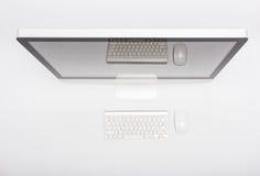 Żarłacza widoku monitoru siatkówki komputerowy pokaz, mysz, klawiatura Fotografia Stock