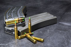 AR-15 Ammunition. Ammunition for an American AR-15 assault rifle in a studio environment Stock Images