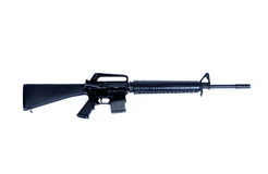 AR-15 Assault Rifle. The AR-15 is a lightweight, 5.56 mm caliber, air-cooled, gas-operated, magazine-fed rifle, with a rotating bolt, actuated by direct royalty free stock image